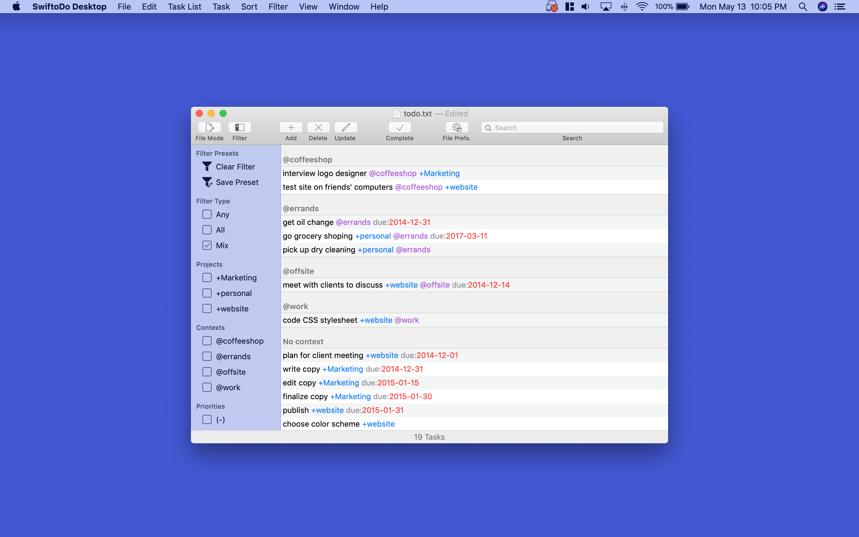 Screenshot of SwiftoDo Desktop's main window, the task list