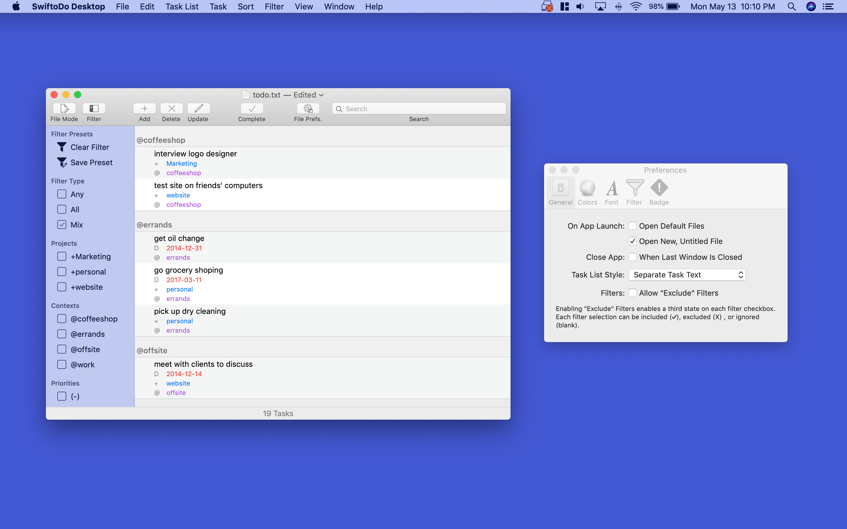 Screenshot of SwiftoDo Desktop's main window, the task list, and the global preferences window