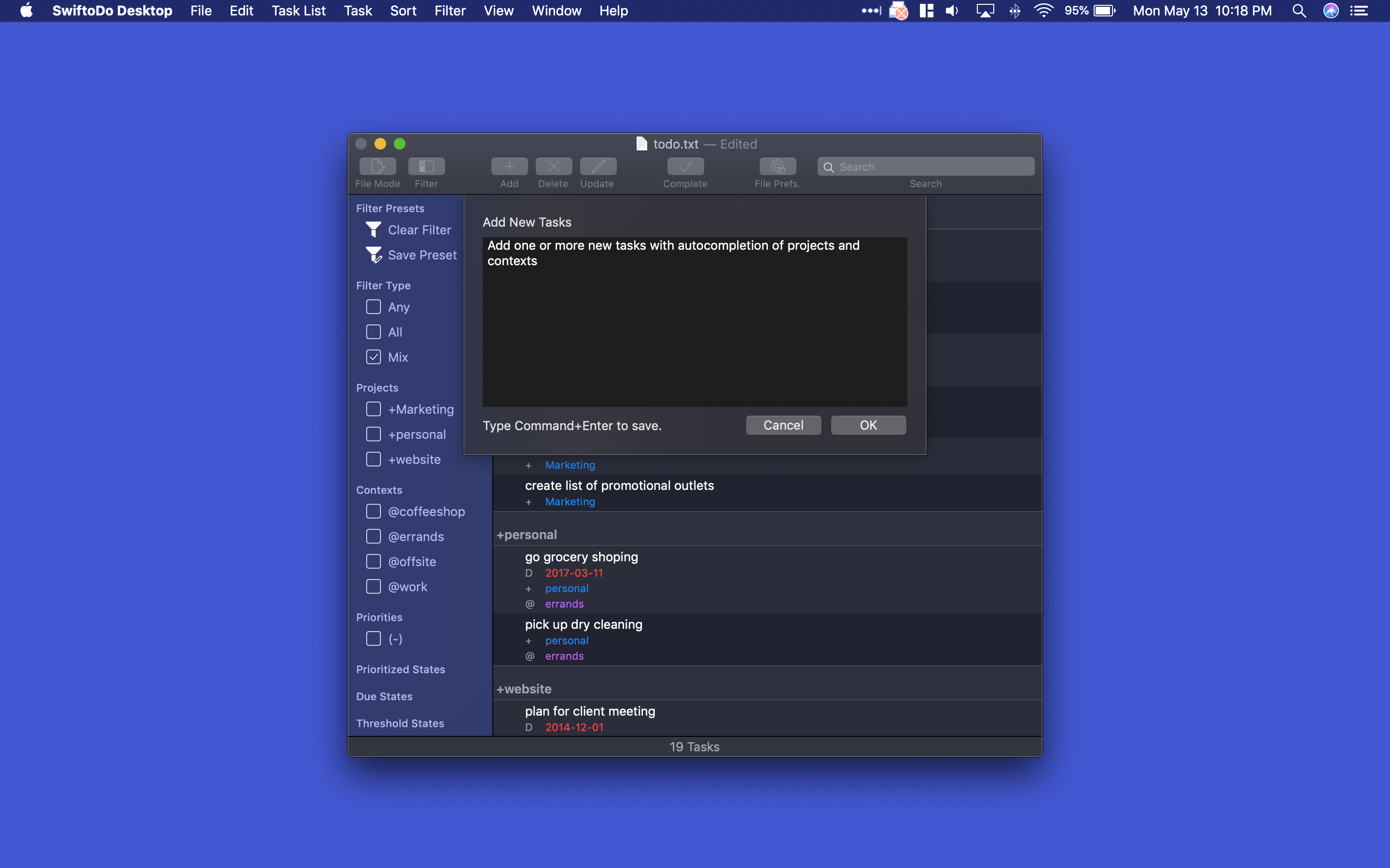 Screenshot of SwiftoDo Desktop's add task window, in dark mode